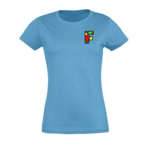 Tshirt femme bleu avec logo la Fabrique à Impros