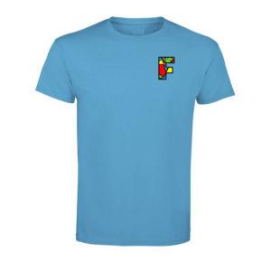 Tshirt homme bleu avec logo la Fabrique à Impros